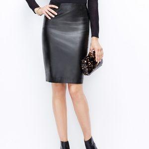 Black Faux Leather Ann Taylor Pencil Skirt